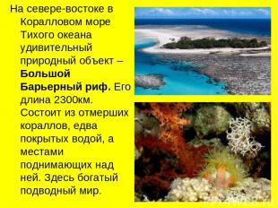 На севере-востоке в Коралловом море Тихого океана удивительный природный объект