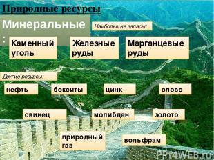 Природные ресурсы Минеральные: Другие ресурсы: Наибольшие запасы: Каменный уголь