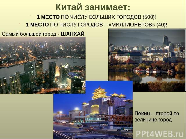 Китай занимает: 1 МЕСТО ПО ЧИСЛУ БОЛЬШИХ ГОРОДОВ (500)! 1 МЕСТО ПО ЧИСЛУ ГОРОДОВ – «МИЛЛИОНЕРОВ» (40)! Самый большой город - ШАНХАЙ Пекин – второй по величине город