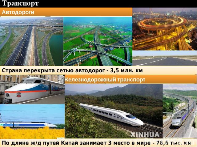 Транспорт Страна перекрыта сетью автодорог - 3,5 млн. км Автодороги Железнодорожный транспорт По длине ж/д путей Китай занимает 3 место в мире - 76,6 тыс. км