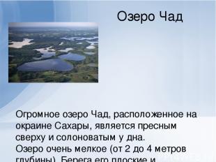 Озеро Чад Огромное озеро Чад, расположенное на окраине Сахары, является пресным