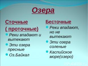 Озера Сточные ( проточные) Реки впадают и вытекают Эти озера пресные Оз.Байкал Б