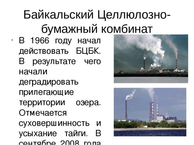 Байкальский Целлюлозно-бумажный комбинат В 1966 году начал действовать БЦБК. В результате чего начали деградировать прилегающие территории озера. Отмечается суховершинность и усыхание тайги. В сентябре 2008 года введена замкнутая система водооборота…