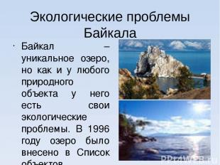 Экологические проблемы Байкала Байкал – уникальное озеро, но как и у любого прир