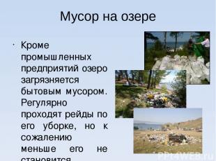 Мусор на озере Кроме промышленных предприятий озеро загрязняется бытовым мусором