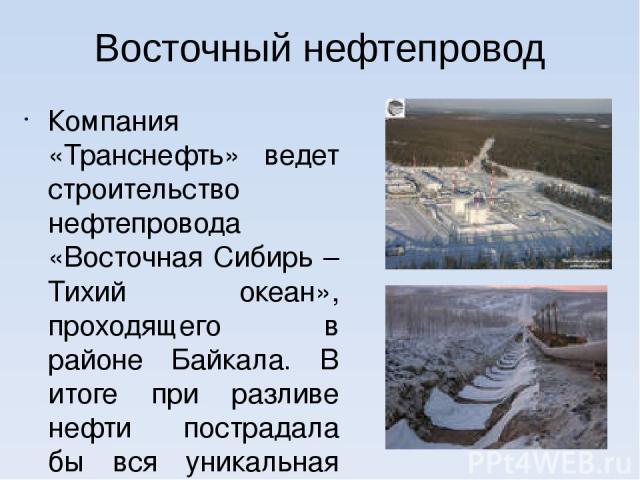 Восточный нефтепровод Компания «Транснефть» ведет строительство нефтепровода «Восточная Сибирь – Тихий океан», проходящего в районе Байкала. В итоге при разливе нефти пострадала бы вся уникальная экосистема озера. В Иркутске 18 марта 2006 года состо…