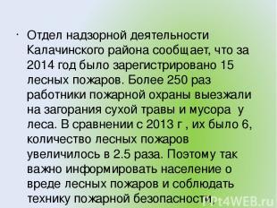 Отдел надзорной деятельности Калачинского района сообщает, что за 2014 год было