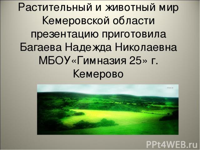 Растительный и животный мир Кемеровской области презентацию приготовила Багаева Надежда Николаевна МБОУ«Гимназия 25» г. Кемерово