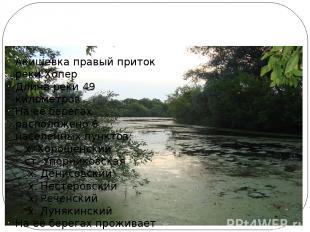 Наша речка Акишевка Акишевка правый приток реки Хопер Длина реки 49 километров Н