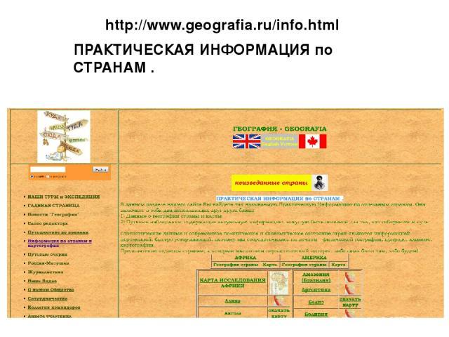 http://www.geografia.ru/info.html ПРАКТИЧЕСКАЯ ИНФОРМАЦИЯ по СТРАНАМ .