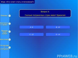 Игра «Кто хочет стать отличником?» Вопрос 6. Сколько пограничных стран имеет Бра