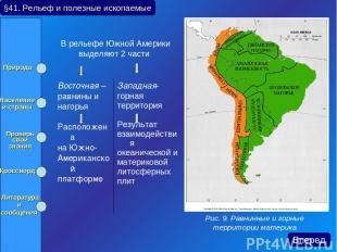 В рельефе Южной Америки выделяют 2 части §41. Рельеф и полезные ископаемые Рис.