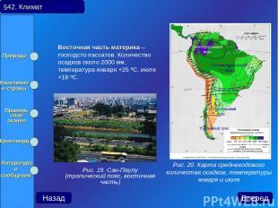 Восточная часть материка – господсто пассатов. Количество осадков около 2000 мм,