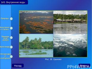 §43. Внутренние воды Назад Вперед Рис. 39. Ориноко Природа Население и страны Пр