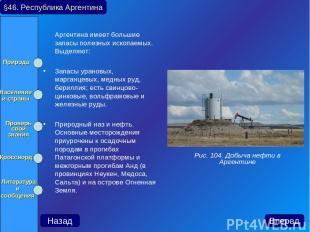 Аргентина имеет большие запасы полезных ископаемых. Выделяют: Запасы урановых, м