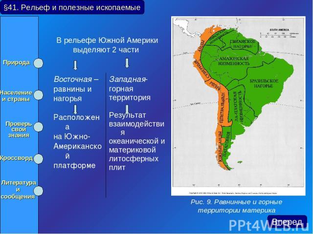 В рельефе Южной Америки выделяют 2 части §41. Рельеф и полезные ископаемые Рис. 9. Равнинные и горные территории материка Вперед Природа Население и страны Проверь свои знания Кроссворд Литература и сообщения