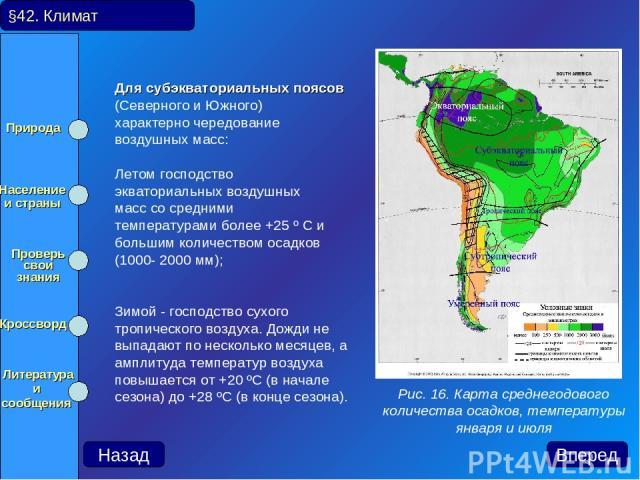 Для субэкваториальных поясов (Северного и Южного) характерно чередование воздушных масс: Летом господство экваториальных воздушных масс со средними температурами более +25 º С и большим количеством осадков (1000- 2000 мм); Зимой - господство сухого …