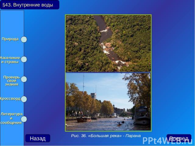 §43. Внутренние воды Назад Вперед Рис. 36. «Большая река» - Парана Природа Население и страны Проверь свои знания Кроссворд Литература и сообщения
