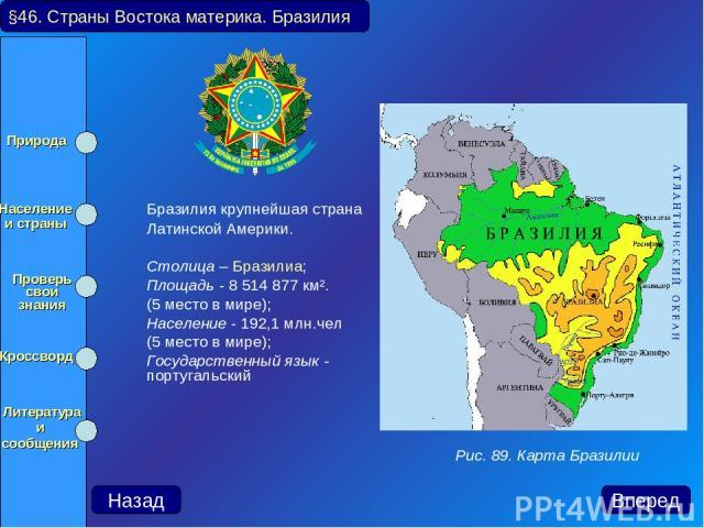 Бразилия крупнейшая страна Латинской Америки. Столица – Бразилиа; Площадь - 8 514 877 км². (5 место в мире); Население - 192,1 млн.чел (5 место в мире); Государственный язык - португальский §46. Страны Востока материка. Бразилия Рис. 89. Карта Брази…