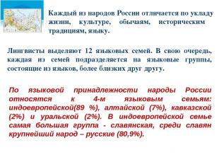 Каждый из народов России отличается по укладу жизни, культуре, обычаям, историче