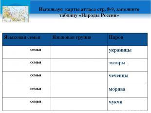 Используя карты атласа стр. 8-9, заполните таблицу «Народы России» Языковая семь