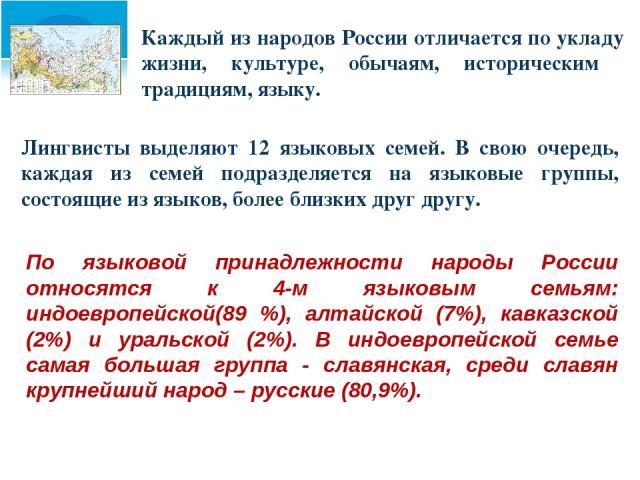 Каждый из народов России отличается по укладу жизни, культуре, обычаям, историческим традициям, языку. Лингвисты выделяют 12 языковых семей. В свою очередь, каждая из семей подразделяется на языковые группы, состоящие из языков, более близких друг д…