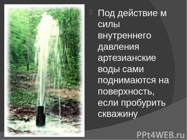 Под действие м силы внутреннего давления артезианские воды сами поднимаются на поверхность, если пробурить скважину