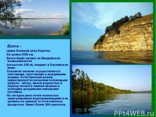Волга – самая большая река Европы. Её длина 3530 км. Волга берёт начало на Валда