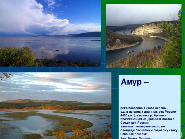 Амур – река бассейна Тихого океана, одна из самых длинных рек России – 4400 км (от истока р. Аргунь), протекающая на Дальнем Востоке. Среди рек России занимает четвертое место по площади бассейна и годовому стоку. Главные притоки – Зея, Бурея, Уссури.