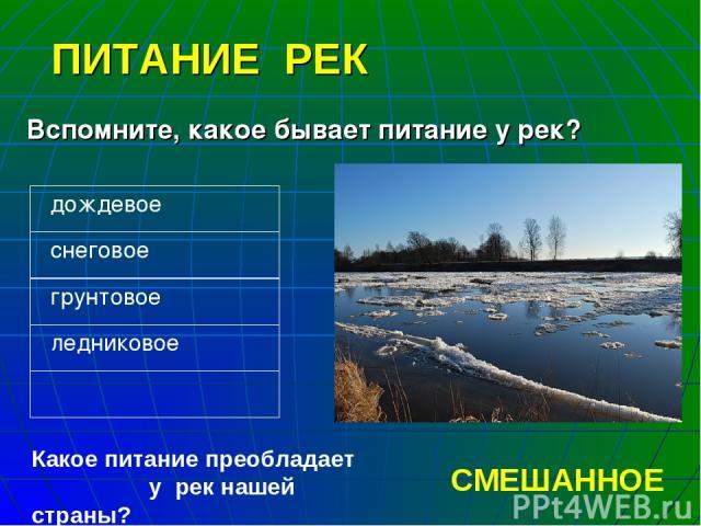 ПИТАНИЕ РЕК Вспомните, какое бывает питание у рек? Какое питание преобладает у рек нашей страны? СМЕШАННОЕ дождевое снеговое грунтовое ледниковое
