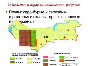 Почвы: серо-бурые и серозёмы (предгорья и склоны гор – каштановые и чернозёмы) З