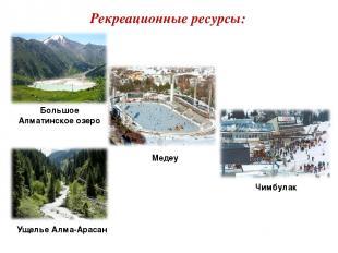 Рекреационные ресурсы: Большое Алматинское озеро Медеу Чимбулак Ущелье Алма-Арас