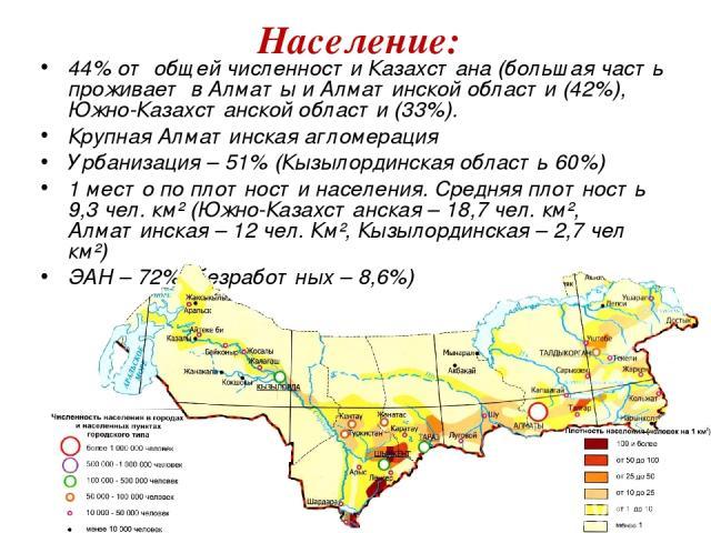 44% от общей численности Казахстана (большая часть проживает в Алматы и Алматинской области (42%), Южно-Казахстанской области (33%). Крупная Алматинская агломерация Урбанизация – 51% (Кызылординская область 60%) 1 место по плотности населения. Средн…
