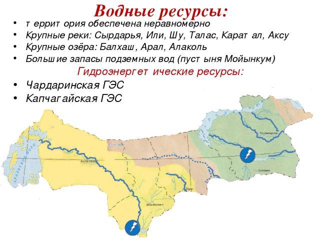 территория обеспечена неравномерно Крупные реки: Сырдарья, Или, Шу, Талас, Каратал, Аксу Крупные озёра: Балхаш, Арал, Алаколь Большие запасы подземных вод (пустыня Мойынкум) Гидроэнергетические ресурсы: Чардаринская ГЭС Капчагайская ГЭС Водные ресурсы: