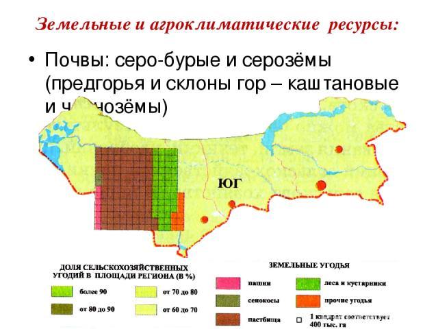 Почвы: серо-бурые и серозёмы (предгорья и склоны гор – каштановые и чернозёмы) Земельные и агроклиматические ресурсы: