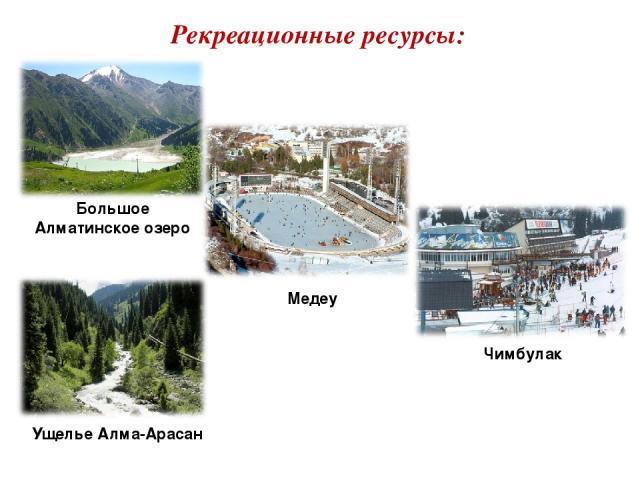 Рекреационные ресурсы: Большое Алматинское озеро Медеу Чимбулак Ущелье Алма-Арасан