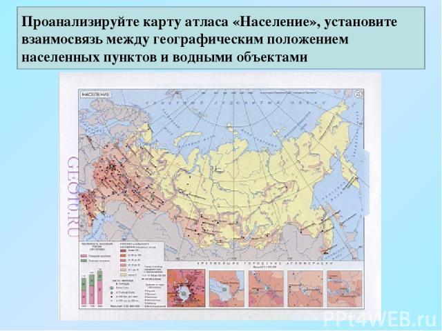 Проанализируйте карту атласа «Население», установите взаимосвязь между географическим положением населенных пунктов и водными объектами