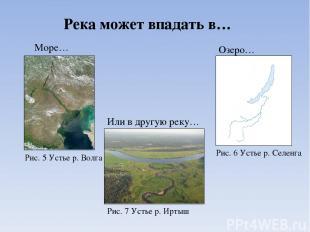 Река может впадать в… Море… Озеро… Или в другую реку… Рис. 5 Устье р. Волга Рис.