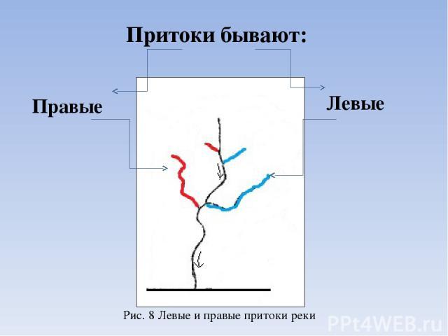 Притоки бывают: Правые Левые Рис. 8 Левые и правые притоки реки