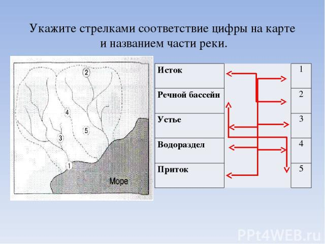 Укажите стрелками соответствие цифры на карте и названием части реки. Исток 1 Речной бассейн 2 Устье 3 Водораздел 4 Приток 5