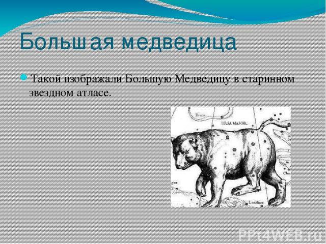 Большая медведица Такой изображали Большую Медведицу в старинном звездном атласе.