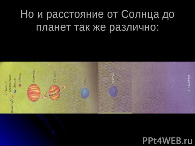 Но и расстояние от Солнца до планет так же различно: