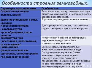 Параметры характеристики Особенности Отделы тела (сколько отделов, какие) Тело д