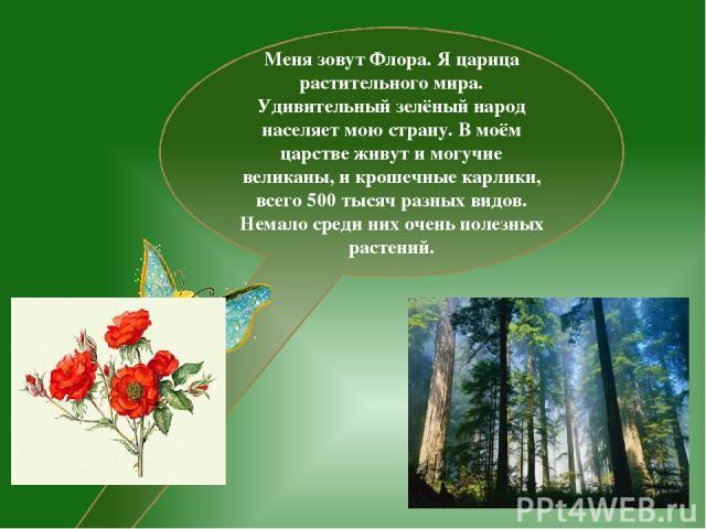 Меня зовут Флора. Я царица растительного мира. Удивительный зелёный народ населяет мою страну. В моём царстве живут и могучие великаны, и крошечные карлики, всего 500 тысяч разных видов. Немало среди них очень полезных растений.