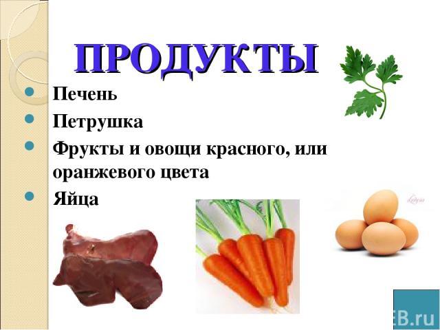 ПРОДУКТЫ Печень Петрушка Фрукты и овощи красного, или оранжевого цвета Яйца