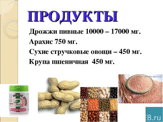 ПРОДУКТЫ Дрожжи пивные 10000 – 17000 мг. Арахис 750 мг. Сухие стручковые овощи – 450 мг. Крупа пшеничная 450 мг.