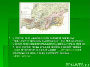 В степной зоне Забайкалья преобладают равнинные территории со средними высотами