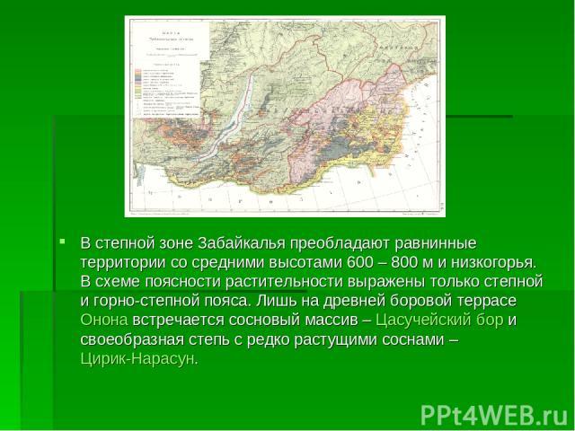 В степной зоне Забайкалья преобладают равнинные территории со средними высотами 600 – 800 м инизкогорья. В схеме поясности растительности выражены только степной игорно-степной пояса. Лишь на древней боровой террасе Онона встречается сосновый масс…