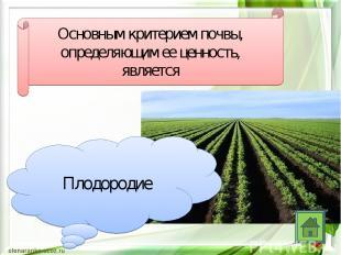 Основным критерием почвы, определяющим ее ценность, является Плодородие