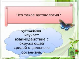 Что такое аутэкология? Аутэкология– изучает взаимодействие с окружающей средой о